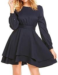 Damen Vintage Kleid Langarm Rückenfrei Rundhals Partykleid Sexy chiffon  Abendkleid in mehrer Farbe 03aadbd3b3
