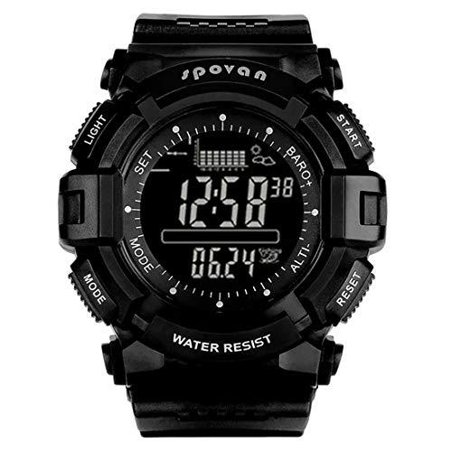 ZMJY Herren Sportuhr, Digital Höhenmesser Barometer Kompass Stoppuhr Weltzeit Wetter Vorhersage wasserdichte Armbanduhren Angeln,Black