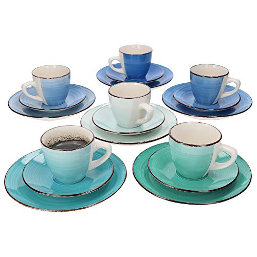 MamboCat 18tlg. Kaffeeservice Curacao I Kaffee & Tee-Gedeck für 6 Pers. I Kaffeetassen + Unterteller + Kuchen-/Dessertteller I abstraktes Design I handbemalt
