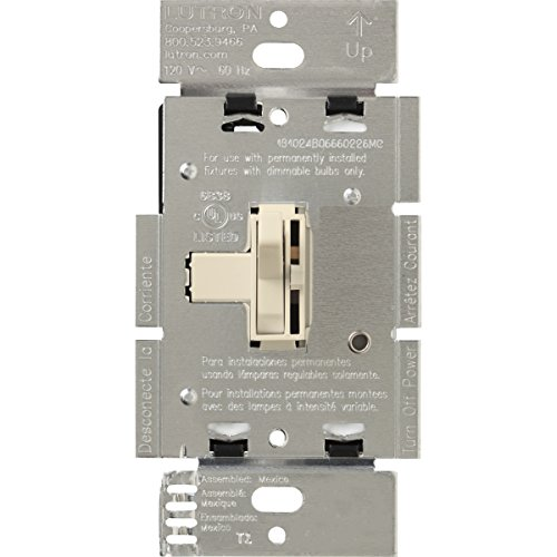 Lutron AYF-103P-LA Ariadni 8 A 3-Way/Single Pole 3-Wire Fluorescent Dimmer Switch, Light Almond by Lutron (Wire Light Switch 3-way)