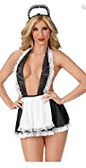 Idea Regalo - Shangrui Maid Costume Uniforme Cosplay Deep V Halter Lace Maid Skirt Clubwear