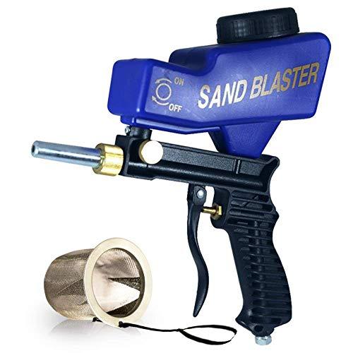 Lematec Portable Sand Blaster, Media sabbiatura ugello pistola, pistola sabbiatura alimentazione per gravità, artigianato, fai da te, vetro e specchio incisione strumento con punta Extra (blu).