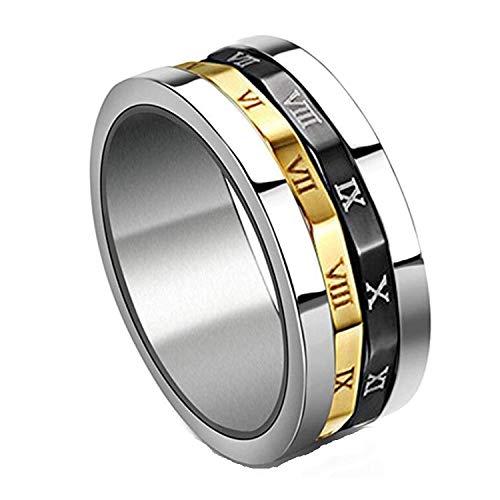 XDBMK Gold, Silber, Schwarz Spinning Edelstahl römische Ziffern Ringe für Herren -