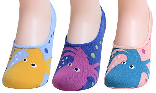 qbsm 3/5/7 Pack Damen Cute Animal Cat unsichtbar Socken Baumwolle Crew No Show Liners Low Cut Socks Gr. One size, 3 Pack Fish (Womens Seide Crew)
