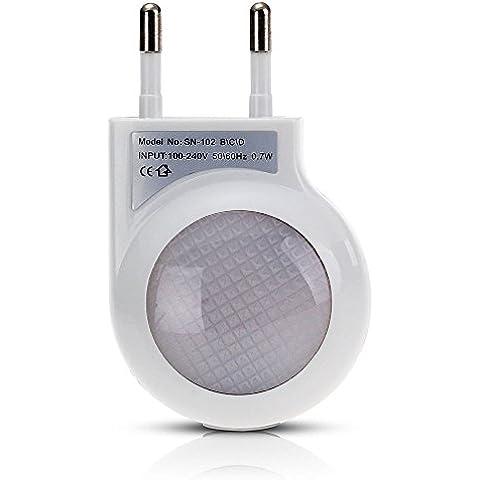 CroLED Lámpara Nocturna LED Sensor Luz Blanco 0.7W con Enchufe Bajo Consumo