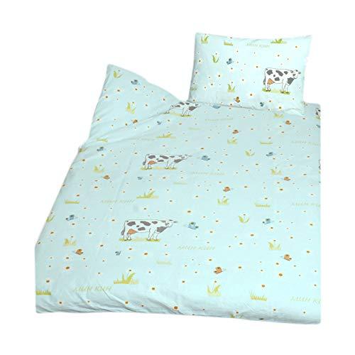 Casa Colori Biber Kinder Bettwäsche 2 teilig Bettbezug 100 x 135 cm Kopfkissenbezug 40 x 60 cm Blau mit Kühen