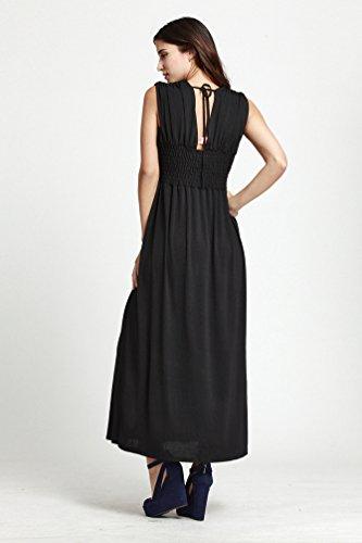 WanYang Damen ärmellos V-Ausschnitt Loses Elegantes Blumen Langes Kleid Strand Sundress Plus Size Frauen Sommer Strandkleid #_2