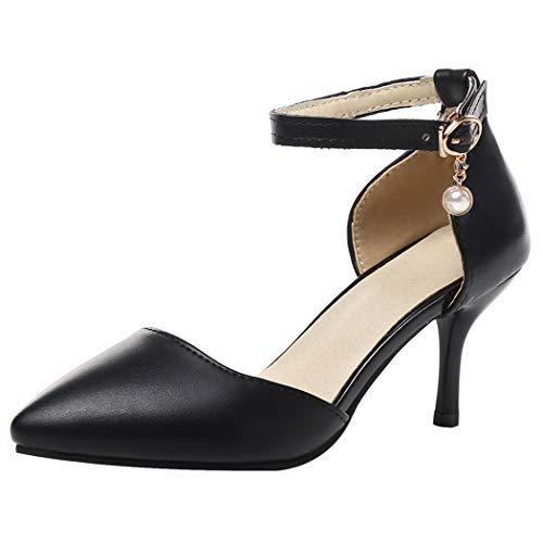Coolulu Damen Ankle Strap High Heels Stiletto Spitze Pumps mit Riemchen 7cm Absatz Schuhe (Schwarz,38) (Schwarze Riemchen Stiletto)