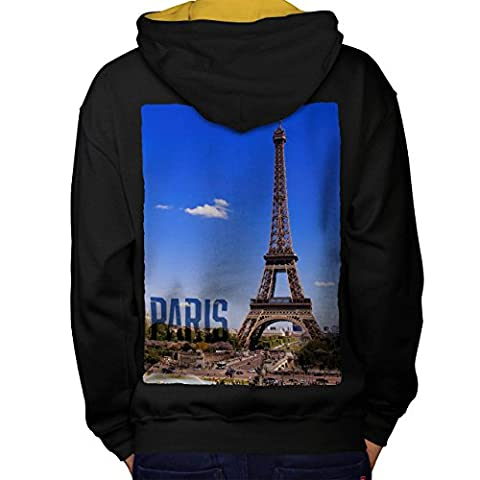journée Ville Eiffel Paris France Homme XL Sweat à capuche contrasté le dos | Wellcoda