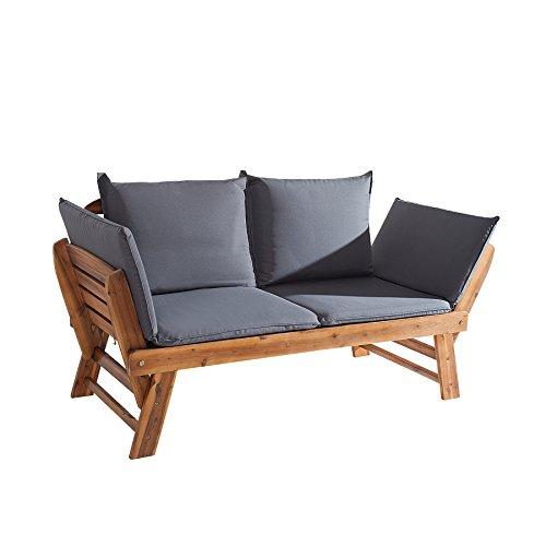 Massive Sitzbank MODULAR Akazie geölt Gartenbank mit Kissen in grau und Polsterung klappbar Bank...