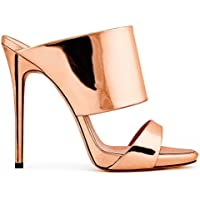 GAIHU mujer sexy señoras sandalias de tacón Stiletto zapatilla peep toe Zapatos artesanales de oro plata vestido de fiesta discoteca