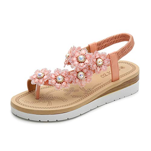 VECDY Damen Sandalen Herren Schuhe Sommer Zehensteg Blume Perle Gummiband Strand Sandalen Römische Schuhe Hausschuhe Flache Schuhe 34-41