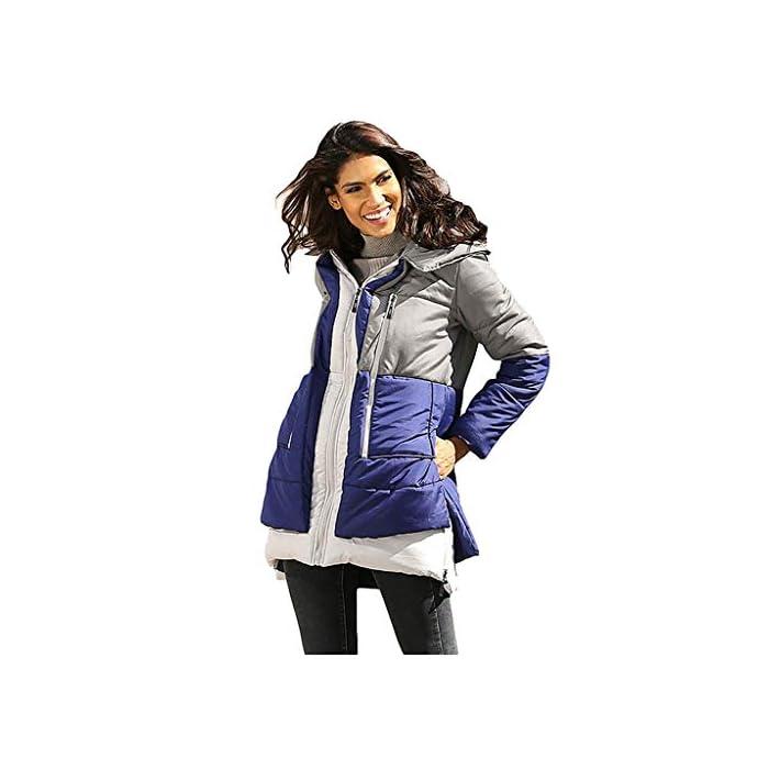 URSING Mantel Damen Lange Steppjacke Daunenjacke Herbst Winter Übergangs Steppmantel Jacke Colorblock Winterjacke…
