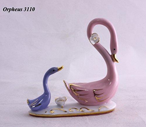 DELICATE Feng Shui Zwei Schwäne (fein Symbol der Liebe)-Hand verarbeitet und verziert feinem chinesischem Porzellan, Figur 11038 - Chinesische Porzellan Figuren