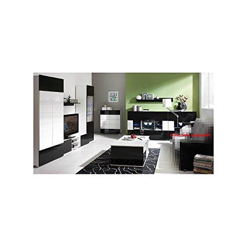 JUSThome Gordia Wohnzimmerset Wohnzimmermöbel Wohnwand Weiß Schwarz