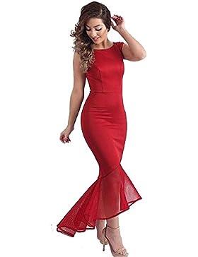 Vestidos mujeres sexy sin mangas con cuello redondo de color puro hip pack cuerpo irregular