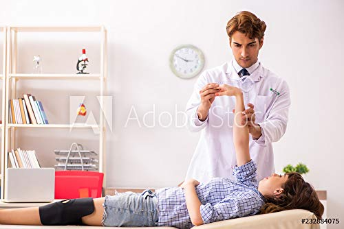 druck-shop24 Wunschmotiv: Male Doctor Checking Joint Flexibility with Goniometer #232884075 - Bild als Klebe-Folie - 3:2-60 x 40 cm / 40 x 60 cm -