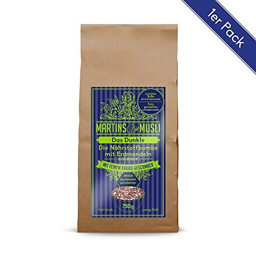 Bio Müsli Porridge Brei: Das Dunkle 750g mit Kakao-Geschmack. Gesundes Frühstück: ohne Zuckerzusatz & Weizen. Vegan basisch verdauungsfördernd. Ein Basismüsli mit Erdmandeln (Chufa) Haferflocken Chia