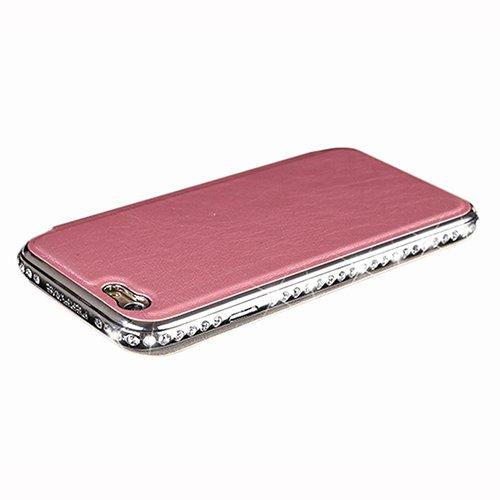 D9Q PU Leder Glänzendes Diamant Metallstoß Flip Cases Covers für Apple IPhone 6 !!rosa