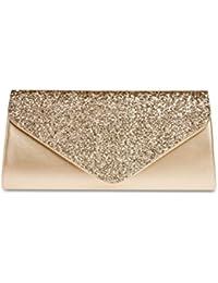 CASPAR TA332 Damen elegante große XL Envelope Glitzer Clutch Tasche Abendtasche