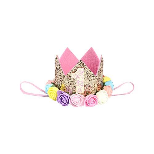 Rose Baby Hut (1pc Säuglings-Baby-1-Geburtstags-Party-Hut Prinzessin Hair Zarte Rosen-Blumen-Haar-Zusatz-Kronen-Party-Hüte Goldener Style B)