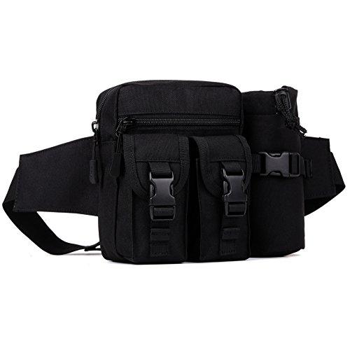 DCCN Hüfttasche Tactical Bachtasche Armee mit Flaschenhalter für Outdoor Sport Trekking Wandern - Mit Bauchtasche Flaschenhalter