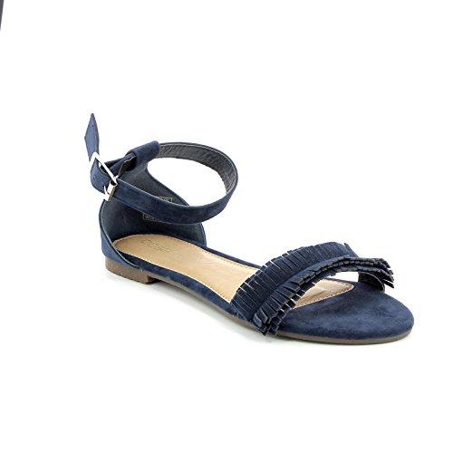 Obsel: by scarpe&scarpe - sandali bassi con frangia e cinturino alla caviglia - 36,0, blue