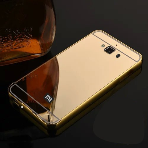 Febelo Branded Luxury Metal Bumper + Acrylic Mirror Back Cover Case For Xiaomi Redmi 2 / Xiaomi Redmi 2 Prime - Gold Plated