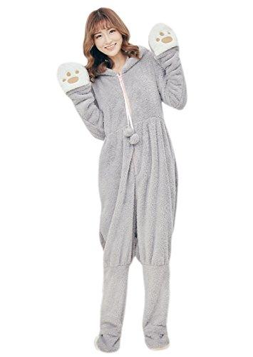 Honeystore Jumpsuit Tier Karton Fasching Halloween Kostüm Sleepsuit Cosplay Flanell Pyjama Schlafanzug Erwachsene Unisex Nachtwäsche Grau M