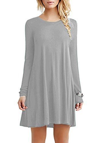 OMZIN Swing T-Shirt für Damen Basic Plain Scoop Neck Sommerkleid Hellgrau 2XL Linie Scoop Neck