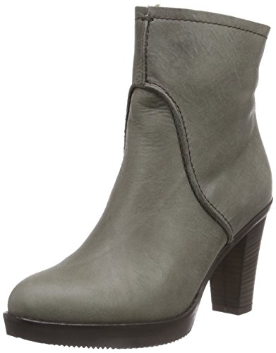 Fred de la Bretoniere Fred zipper booty 13cm rubber sole 8cm heel artificial Wool lined, Stivali classici imbottiti a mezza gamba donna, Grigio (Grau (Sottobosco 459)), 37