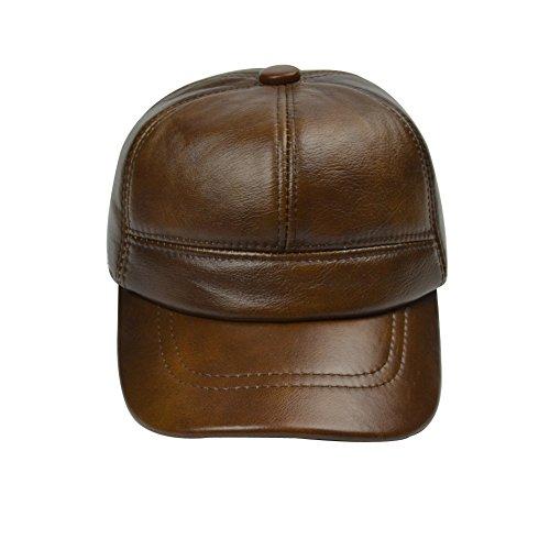 Yosang Herren Outdoor Earmuffs Leder Hut-Hysteresen Baseballmütze Einstellbare (Hut Fahren Leder Echt)