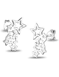 Elli Damen Ohrstecker Sterne Astro Trend Cut Out Filigran Sternenhimmel Blogger 925 Sterling Silber