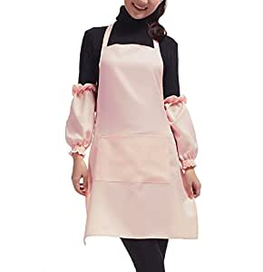 Homgaty Pink Plain Ladyship Kitchen Apron with Front Pocket for Butchers Chefs Cook Kitchen Cooking