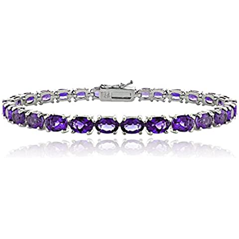 Sterling Argento 13ct africano ametista ovale Bracciale Tennis - Africana Argento Sterling Bracciale