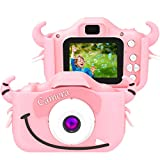 SoloKing Cámara para Niños con 12 Megapíxeles,Doble Lente,Pantalla LCD de 2.0 Pulgadas,Video HD de 1080P,32GB Tarjeta de Memoria Incluida,Regalos para Tres Reyes (Rosa)