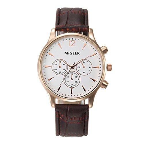 Kunstleder Herren Analoge Uhr, Zarupeng Luxus Mode Quarz Gürteluhr Armbanduhren Geschäfts Uhren Unisex Armbanduhr (One Size, B)