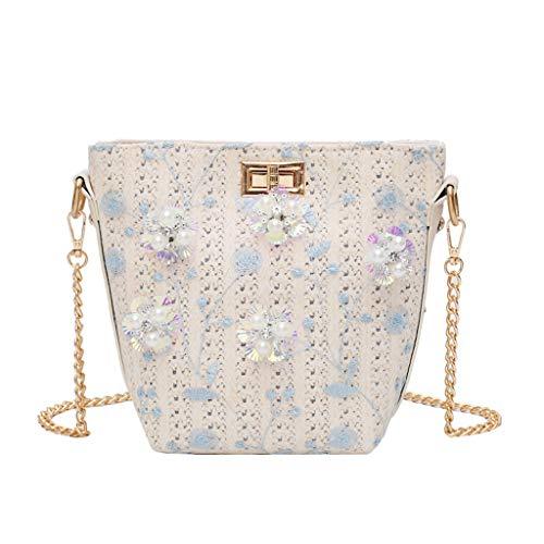 DOFENG Damen Retro Stroh Geflochtene Perle Applikationen Handtaschen Schultaschen Rucksack Daypack Schulrucksack Tagesrucksack Umhängetasche Reiserucksack für Schule Reise Arbeit (Blau, One Size) -