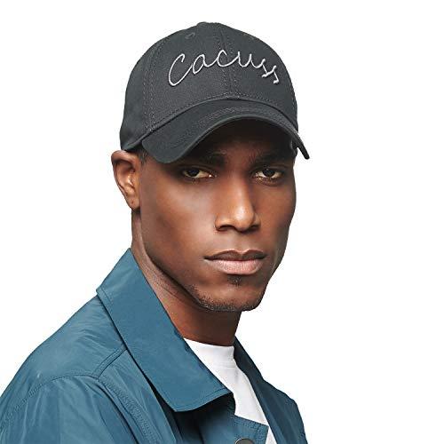 CACUSS Baumwolle Damen Herren Baseball Cap einstellbar für Draussen Sport oder auf Reisen (B0090_Schwarz grau) Golf Cap-5-panel-caps