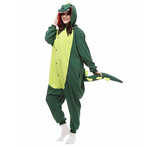 Gaorui Damen Mädchen Tier Kostüm Schlafanzug Pyjama Schlafstrampler Party Feier Kostüme Grüne Dinosaurier