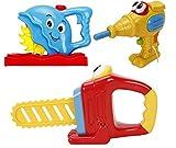 deAO Set di Attrezzi da Lavoro Giocattolo 3in1 Gioco Laboratorio Bricolage per Bambini Trapano e Seghe di Plastica con Funzione di Movimento e Suoni Reali