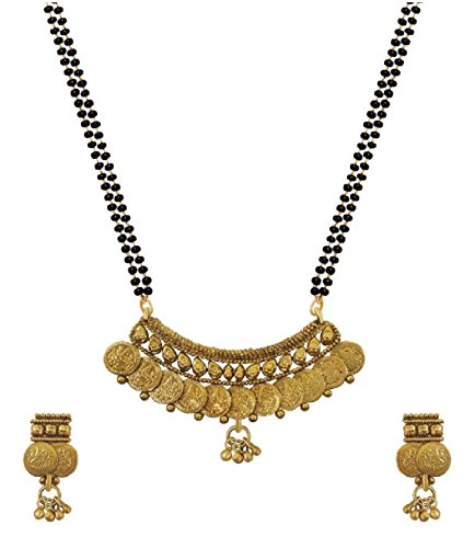 aabhu Gold-Plated Laxmi Temple Coin Mangalsutra with Earring and Chain for Women