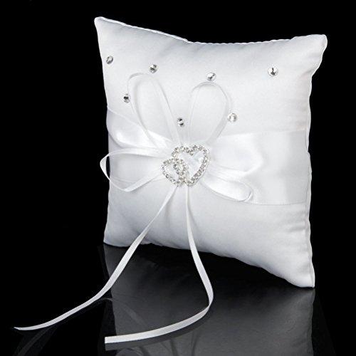 % Pixnor Matrimonio delicato raso Rhinstone nuziale anello portatore cuscino cuscino-1 pezzo recensioni dei consumatori