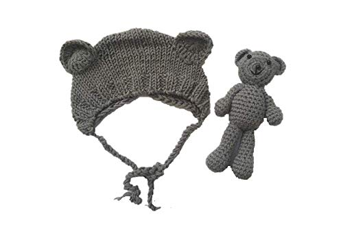 Am Kostüm Neugeborenen Besten - Matissa Neugeborenes Baby häkeln Strick Kostüm Fotografie Prop Baby Bär Hut und Puppe Set (Grau)