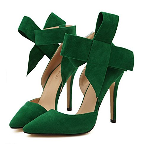 Xianshu Womens Bow Tie High Heel Pumps Party Dress Court Schuhe(Green-35) (Tie Bow Heels)