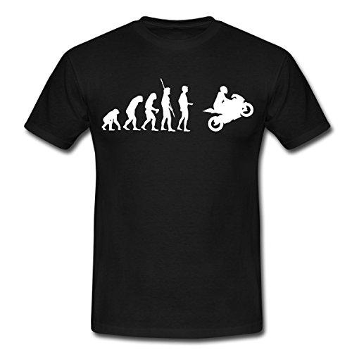 Spreadshirt Evolution Motorrad Motorradfahrer Biker Männer T-Shirt, L, Schwarz (T-shirt Schwarze Motorrad Biker)
