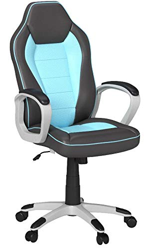 Silla giratoria para oficina, escritorio o juegos, de piel sintética, respaldo curvado,...