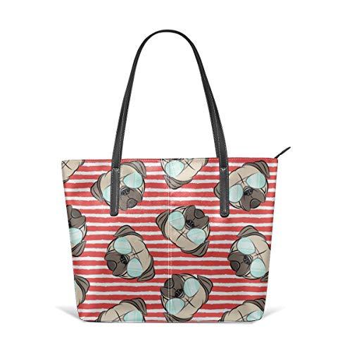 Frauen aus weichem Leder Tote Umhängetasche Mops W Sunnies On Stripes Mops Cute Dog Face Fashion Handtaschen Satchel Geldbörse - Stripe Zip Satchel