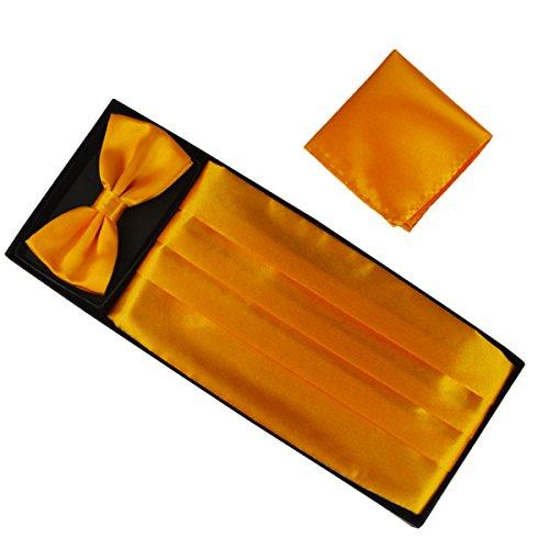 Ensemble de 3 pièces Ceinture de Smoking Noeud Papillon Cravate Lavallière Mouchoir De Poche Homme en Polyester pour Soirée Businesse Mariage Cérémonie Déco Fête Costume Complet Necktie Jaune