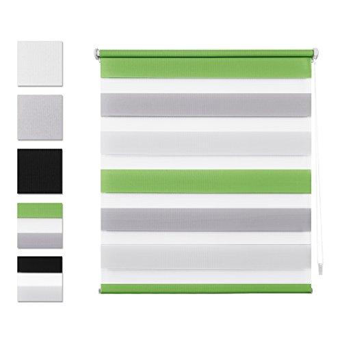 Double Store Enrouleur Jour Nuit 50 x 100 CM Vert Gris Blanc - Facile à Fixer sans Perçage ni Forage avec Clips